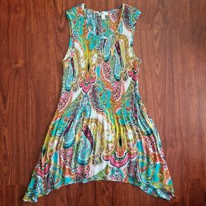 Bright Colorful Paisley Tank Top Flowy Tunic Shirt